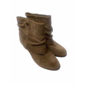 BCBG Paris Boots Cinelia Ankle Booties Leather Suede Fold Over 9B
